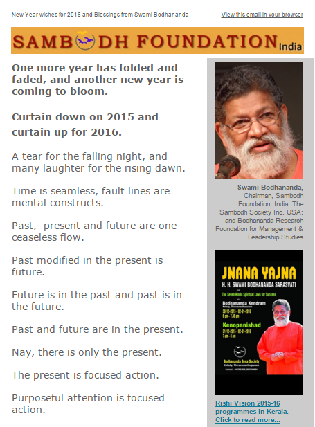 New Year Blessings from Swami Bodhananda